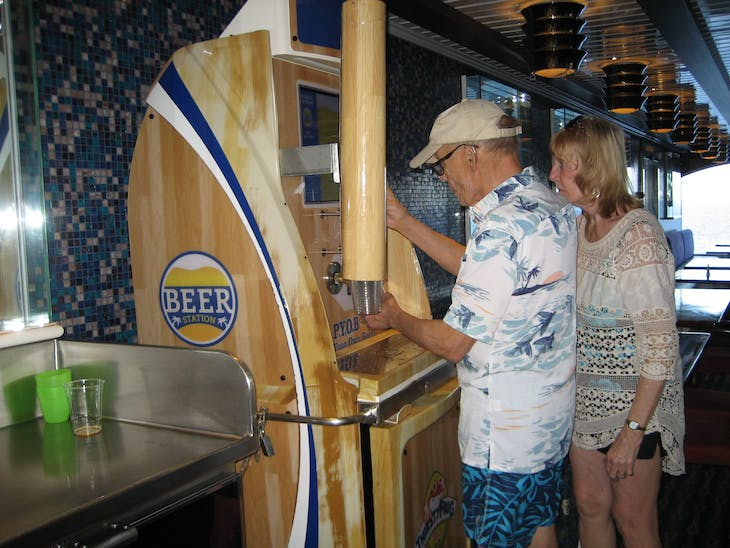 Self serve beer dispenser on Lido - Carnival Glory