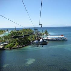 Mahogany Bay, Roatan, Bay Islands, Honduras - Flying Beach Chair over water