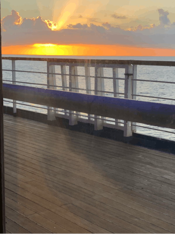 Sunset from our dining room table - Carnival Glory