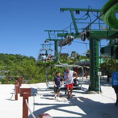 Mahogany Bay, Roatan, Bay Islands, Honduras - Getting off Flying Beach Chair