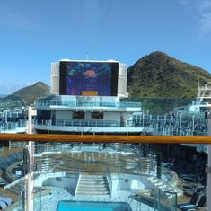 Docked at St Maarten. Topside, MUTS and daytime entertainment screen.