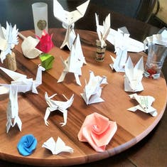 Origami figures that our waiter made each night.