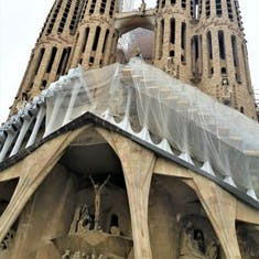 Looking up to the top of the Sagrada Familia which has been under construction for approximately 150 years.  Antoni Gaudi's most famous work.