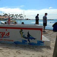 Oranjestad, Aruba - Lucy's Retired Surfer's Bar & Restaurant with a great view.