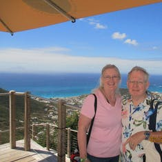 Philipsburg, St. Maarten - Us at the top of Sentry Hill