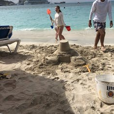 Beach day w sandcastle