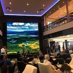 Atrium area with very large video screen