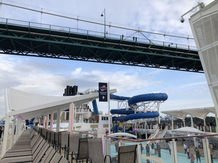Crossing under the Lion's Gate Bridge in Vancouver - Norwegian Joy
