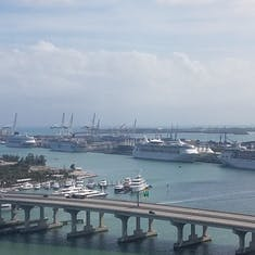 Miami, Florida - View of the cruse port from our hotel