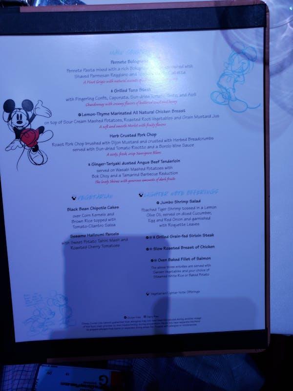 Night 2 Animator's Palate Menu - Disney Fantasy