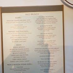 Palo Brunch Menu