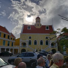 Willemstad, Curacao - Trolley Train Tour - Notice the Cannon Ball Embedded in the Wall