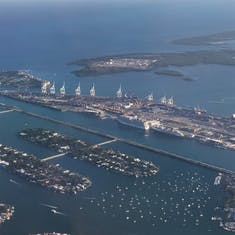 The cruise port from the plane