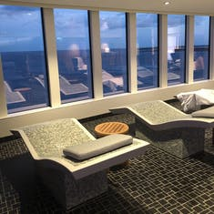 Heated tile loungers in the thermal suite