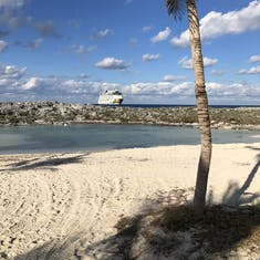 Norwegian Encore anchored off the coast of Great Stirrup Cay