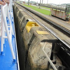 Panama Canal Transit - Top of Pedro Miguel Locks from deck 7 at 11:17 AM.