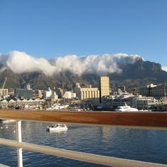 """Cape Town, South Africa - See the """"Table Cloth"""" just beginning to cover Table Mountain at Cape Town?"""