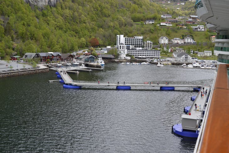 Geiranger, Norway - The pier in Geiranger extends to meet the ship!