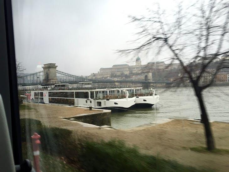 Budapest-Viking Atla docked with Another Viking Longship Alongside Chain Bridge - Viking Jarl