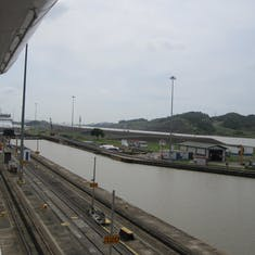 Panama Canal Transit - Exiting Pedro Miguel Locks.