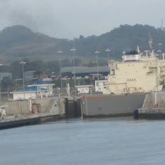 Panama Canal Transit - Gate nearly closed on PANMAX in the new locks.