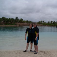 Nassau, Bahamas - All suited up for the sealion swim at Atlantis.