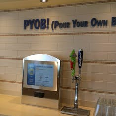 Pour your own beer station in the buffet on Carnival Sunshine