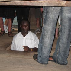 Slaves were kept here for shipment, no not upstairs but under the floor.