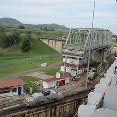 Panama Canal Transit - Entering the Miraflores Locks from our balcony.