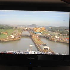 Panama Canal Transit - Entering the Miraflores Locks as seen on the TV in cabin.