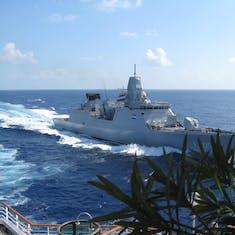 Our Dutch warship escort for four days, Somalia coast --Kenya to Oman
