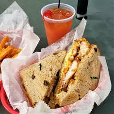 King's Wharf, Bermuda - Fish Sandwich at Woodys