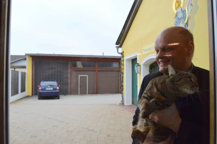 Durnstein, Austria - Erhard Morwald with Cat  - Viking Jarl