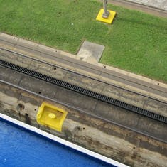 Panama Canal Transit - End of rising in the Miraflores Locks from deck 7.