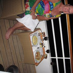 Dinner on our balcony. Courtesy crew of the good ship Prinsendam