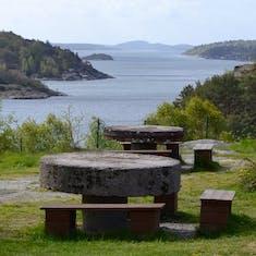 Milestone picnic tables in Sweden