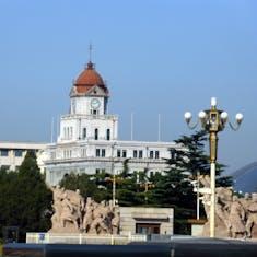 Xingang (Beijing), China - Bank of China with Memorial in foreground