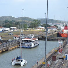 Panama Canal Transit - Smaller vessels are loaded through together.  Interesting to watch.