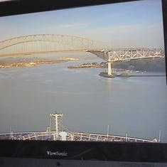 Panama Canal Transit - Bridge of the Americas from the TV in our cabin