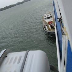 Panama Canal Transit - Pilot & his crew boarding to take us to the Gatun Locks.