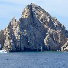 Rock formations approaching Cabo San Lucas. Good view of El Arco.