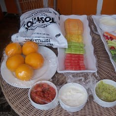 Half Moon Cay, Bahamas (Private Island) - Food that was included in the cabana rental on Half Moon Cay.