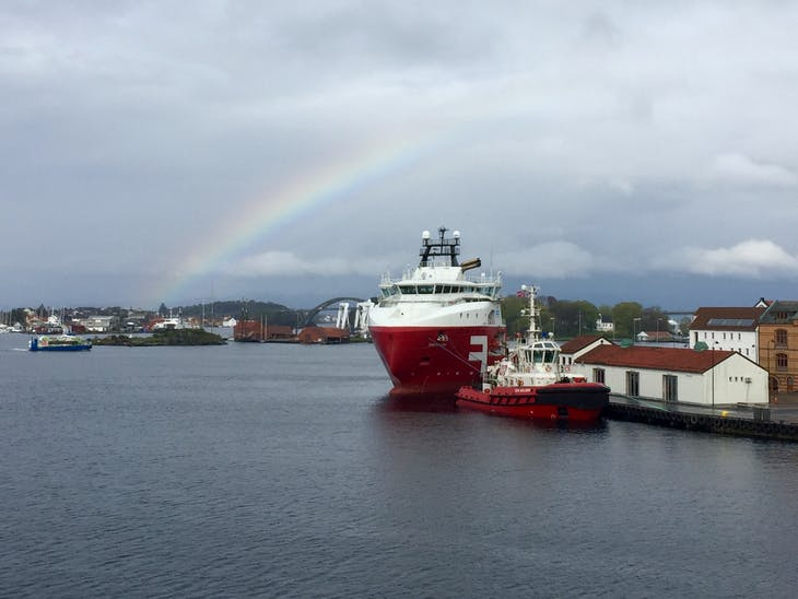 Stavanger, Norway - Overcast spring weather but nice rainbow toward end of the day.