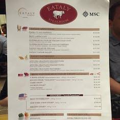 Eataly Steakhouse Menu