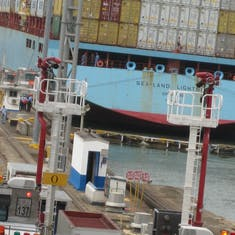 Panama Canal Transit - Gates closed in Gatun Locks on adjacent ship.