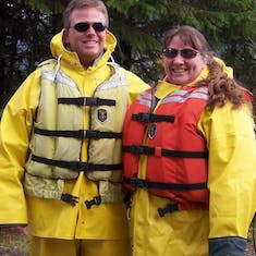 Mike & Amy all geared up for white water rafting! Alaska, Sept. 2005.