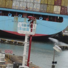 Panama Canal Transit - Adjecent ship with Gatun Locks gates closing.